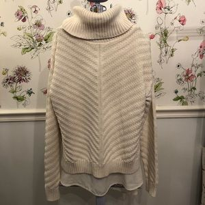 The Limited Cream Sweater Sheer Underlay Small